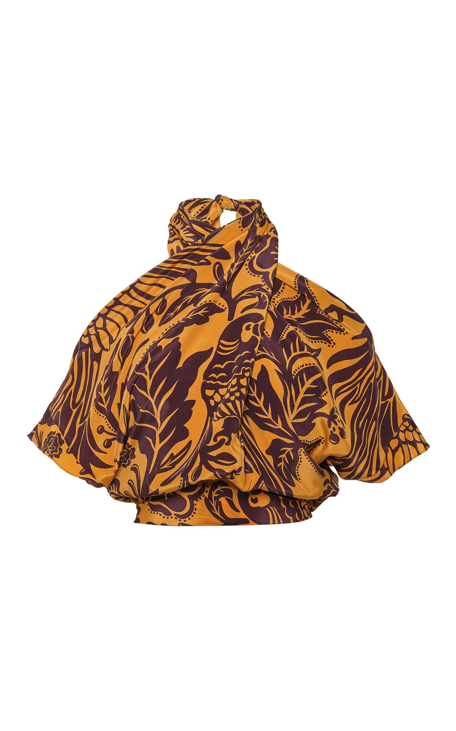 Curcuma soul shift silk cropped top by johanna ortiz