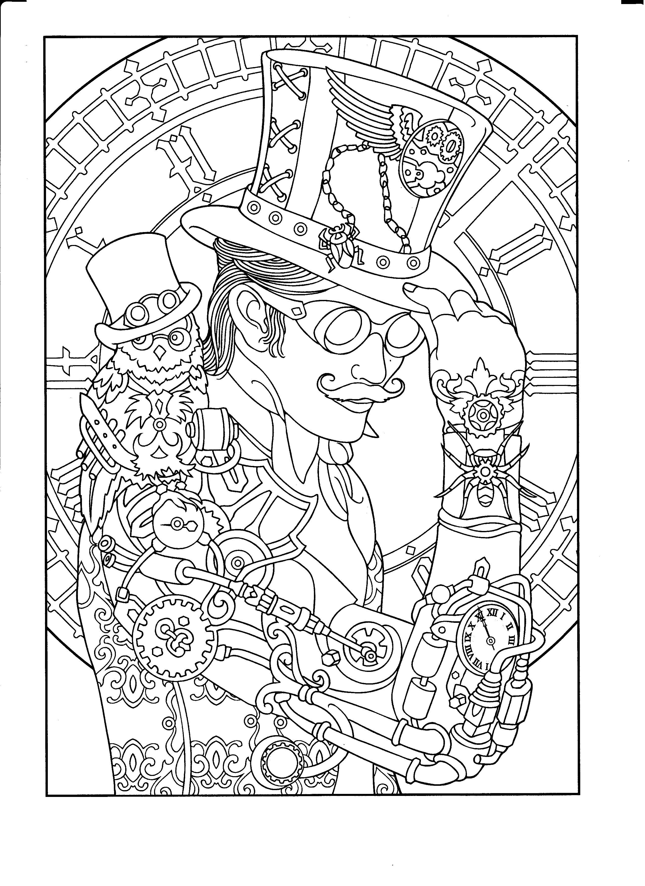 Steampunk coloring page. Adult Coloring Steampunk Style