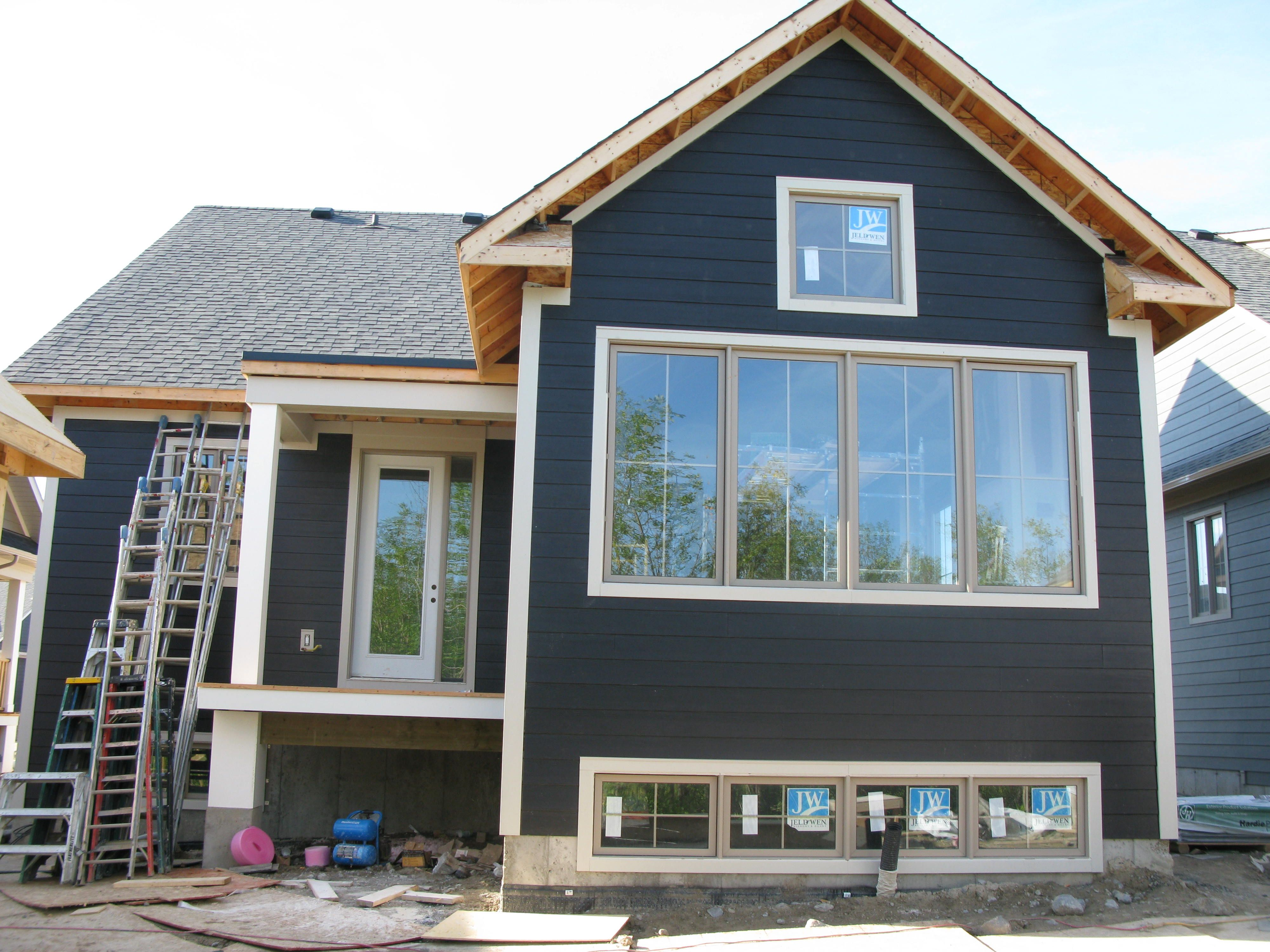 James Hardie Midnight Black And Cobblestone Trim At Windfall House Exterior Siding Colors Hardie Siding