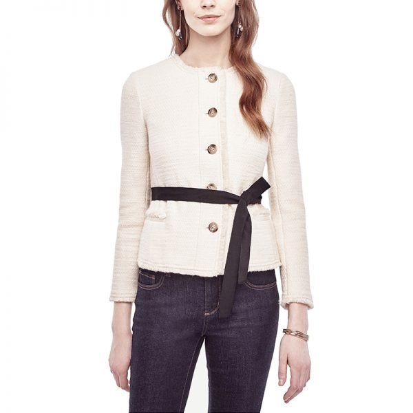 - Try thissleek tweed jacket with a pair of ivory trousers for an elegant winter-white look.Ann Taylor Belted Fringe Tweed Jacket, $169