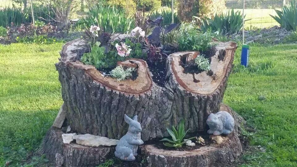 Pin by judy bracken on tree stump ideas pinterest tree for Tree decorations for garden