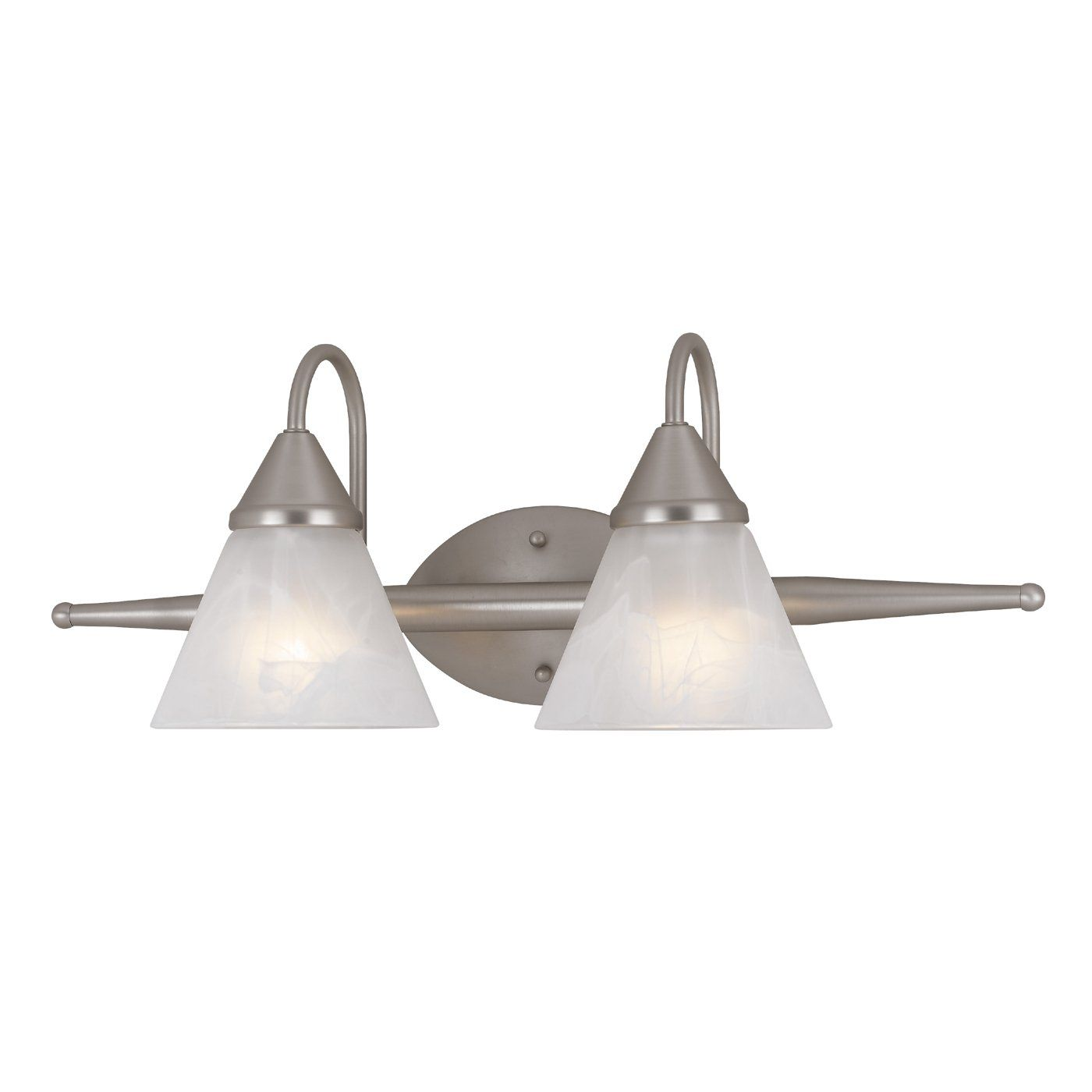Amlite Lighting Satin Nickel 2-Light Bathroom Vanity Light ...