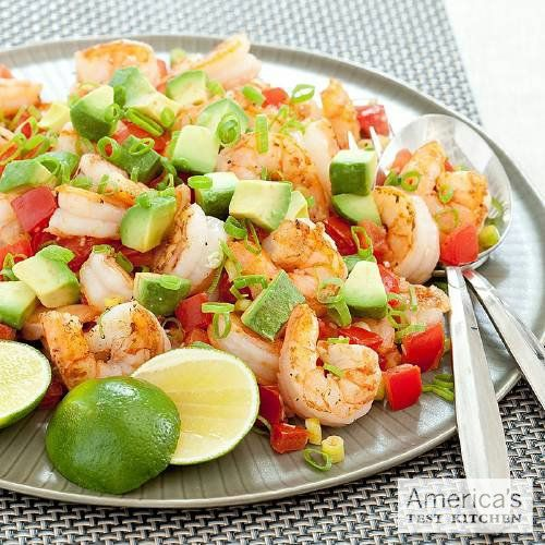 Pan-Seared Shrimp with Tomato and Avocado. From: The America's Test Kitchen Healthy Family Cookbook. http://amzn.to/lHhQsO