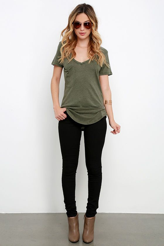 6f5fb555bfac6 Not only will the Z Supply Pleasant Surprise Olive Green Tee put a smile on  your face