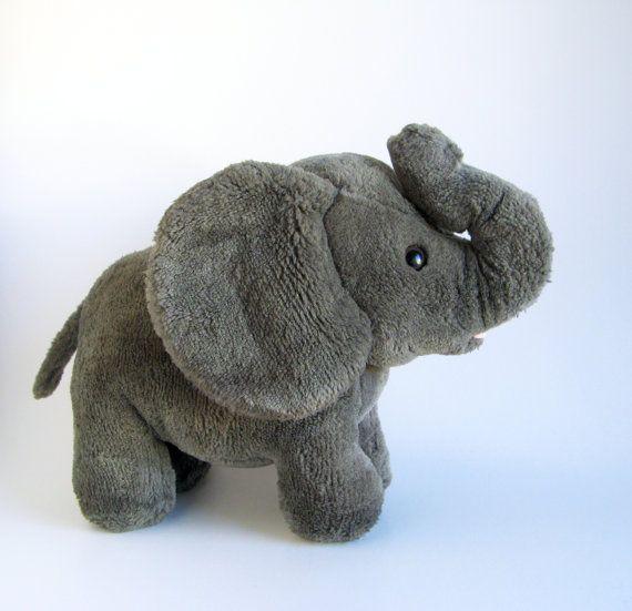 9c02284aea3a31 Vintage Elephant Stuffed Animal R Dakin 1980s Toys Dark Gray Big Ears  Standing Elephant African Elephant African Animal Safari Animal