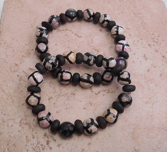Tibetan Faceted Agate and Wood Bracelet.  Fun and so easy to wear! B103 .  $19.00.  Click to view on my Etsy site or contact me directly at ByEJewelry@gmail.com.