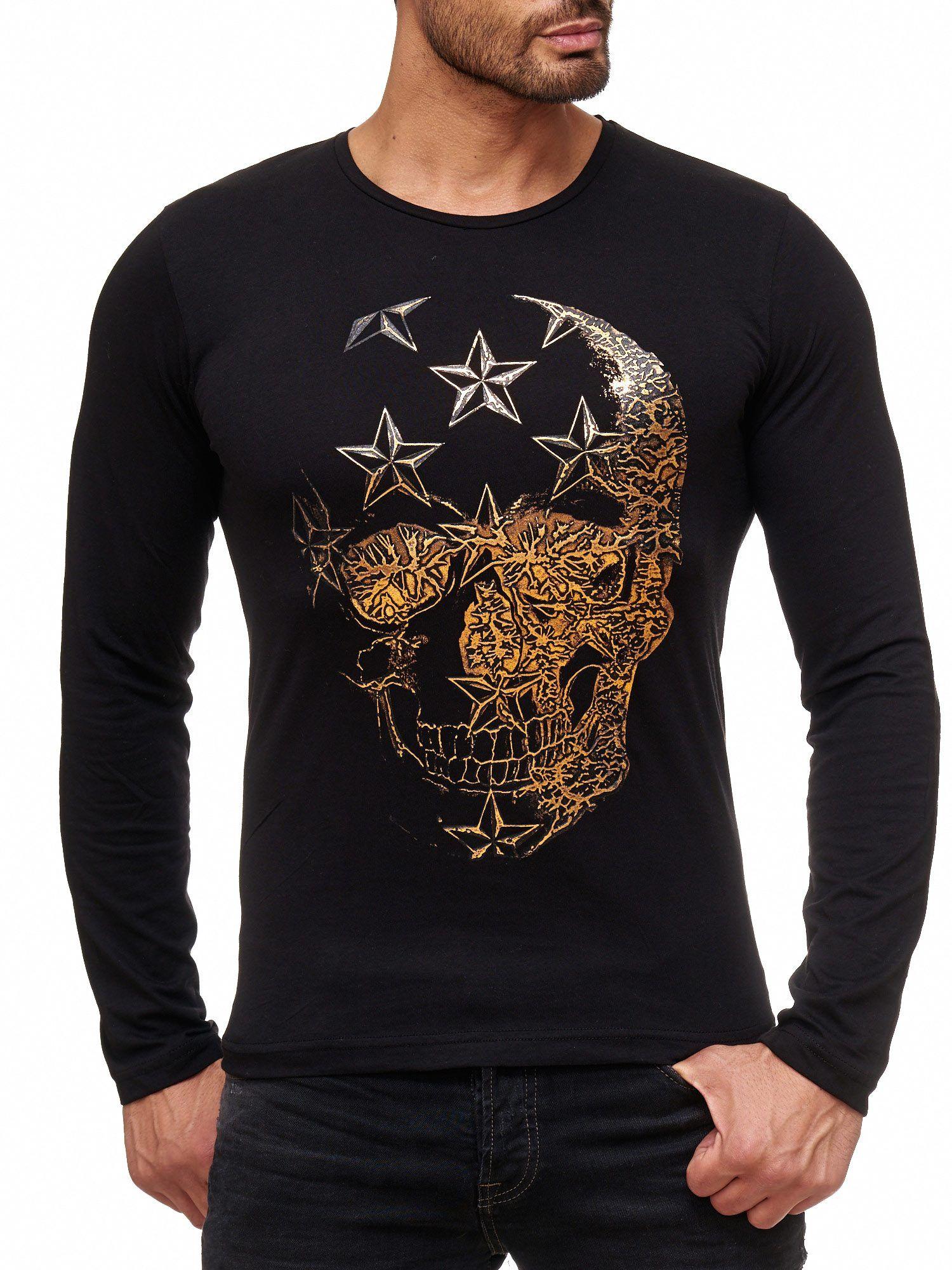 bd16a73a1b6f Red Bridge Herren Skull Star Motiv Longsleeve Pullover Langarm T-Shirt  Schwarz  skull