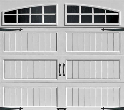 Ideal 9 X 7 White Arch Lite Long Panel Insul Carriage House Garage Door At Menards Garage Doors Carriage House Doors White Garage Doors Garage Doors