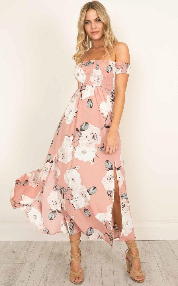 e6ff1ea2f43 Blush floral maxi dress.