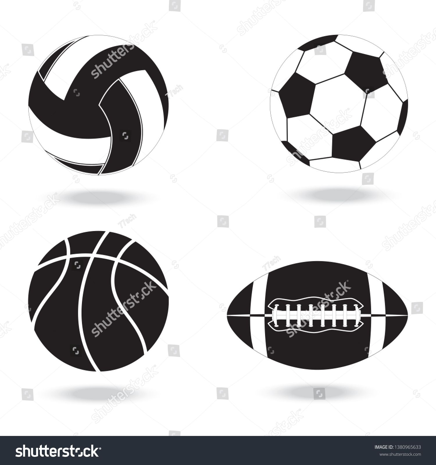 Black And White Icons Of Balls For Different Sports Balls For Volleyball Football Basketball And American Football Ad Different Sports Sport Icon Ball