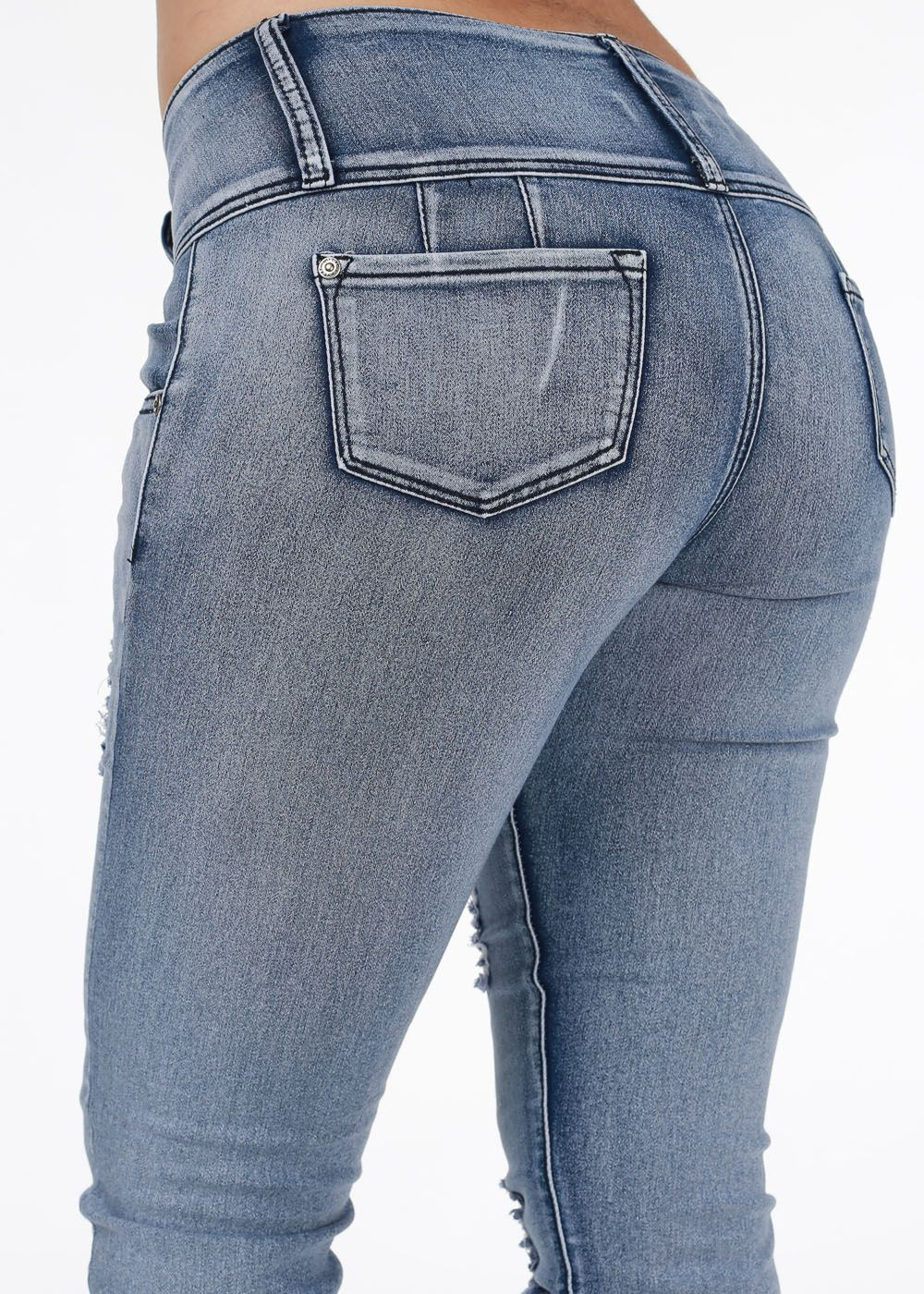 Cute Jeans- Trendy Butt Lifting Jeans- Blue skinny jeans