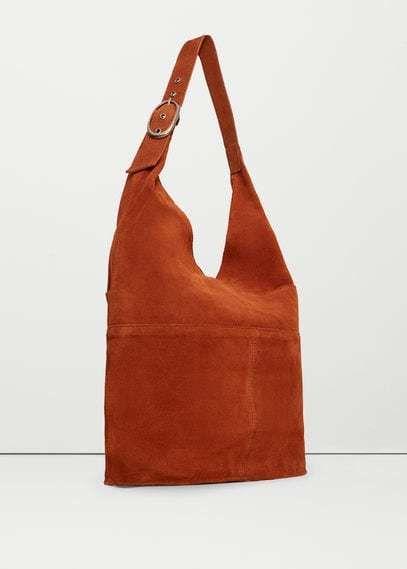 c818779a0 MANGO OUTLET Leather hobo bag #aff | serigrafia | Leder, Innentasche ...