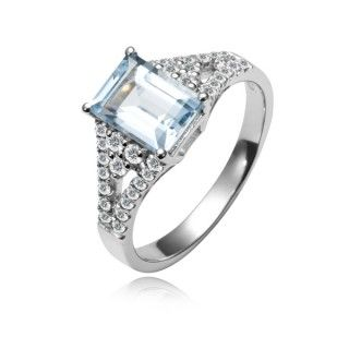 Bague Argent 925 Aigue Marine Et Zirconia Gemstone Bracelet Engagement Rings Rings