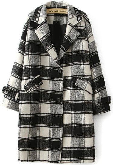25094bb3c6 Shop Black Lapel Long Sleeve Plaid Woolen Coat online. Sheinside offers Black  Lapel Long Sleeve Plaid Woolen Coat & more to fit your fashionable needs.