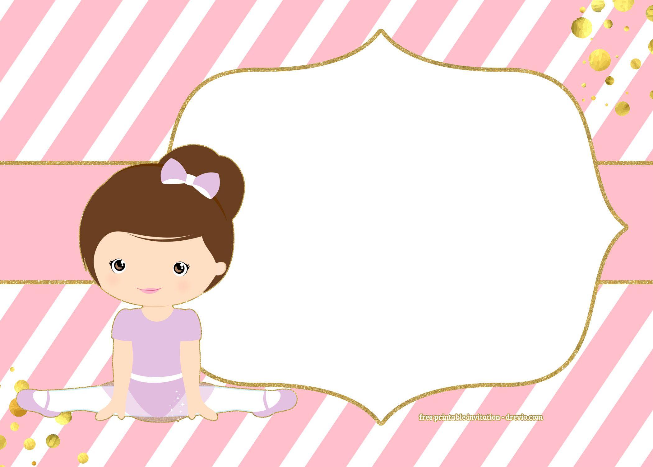 FREE Golden Ballerina Birthday Invitation Templates