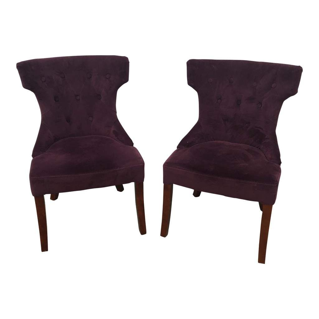 Purple Velvet Side Chairs a Pair FREE SHIPPING! in