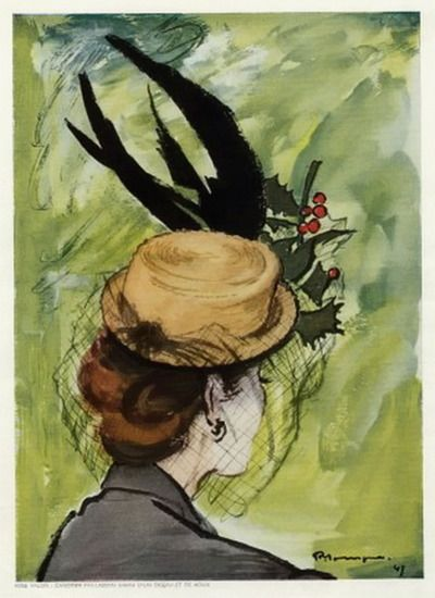 Elegant illustration for Rose Valois hats, 1947, by Pierre Mourgue. #vintage #hats #fashion