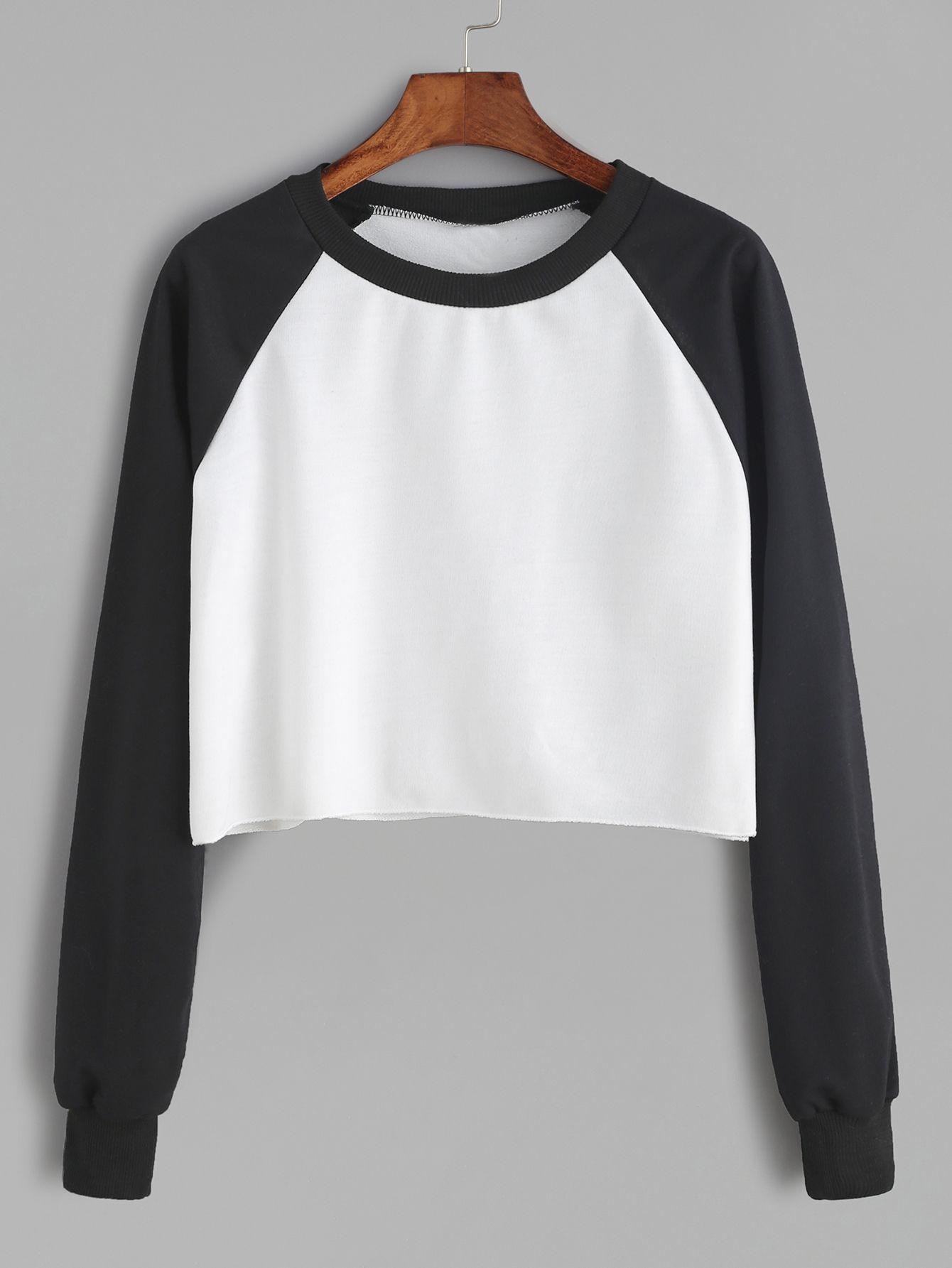 Shop Contrast Raglan Sleeve Curved Hem Crop Sweatshirt online. SheIn ...