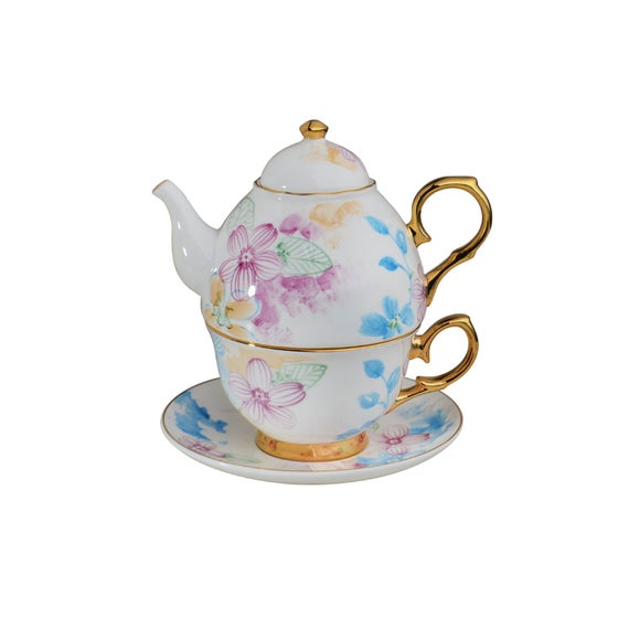 Bozn Bone China Floral Teapot And Cup Set Combined Teapot Cup