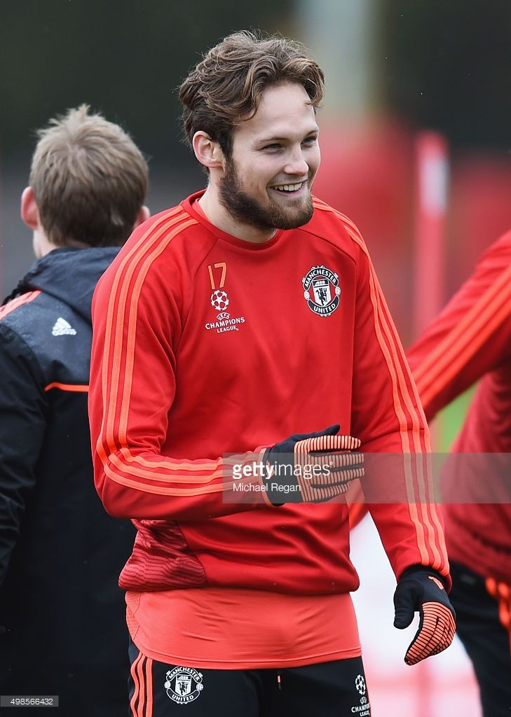 b34e7d2069b Daley Blind of Manchester United looks on during the Manchester United  training session on the eve of the UEFA Champions League Group B match  against PSV ...