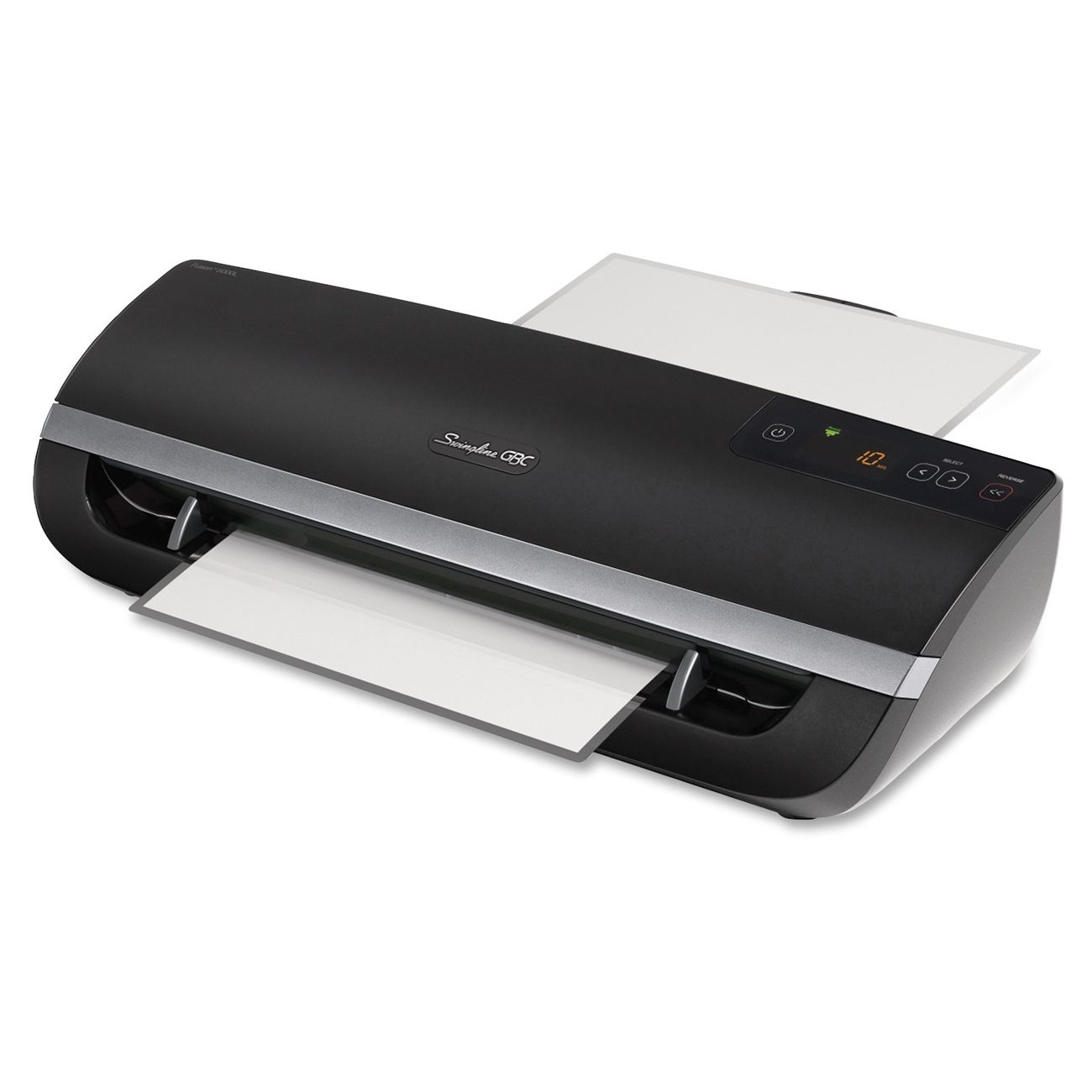Swingline Fusion 5000l 12 Laminator Item Swi1703077 Four Roller Laminating With 1 Minute Warm Up Green Lig Laminators Auto Reverse Technology Solutions