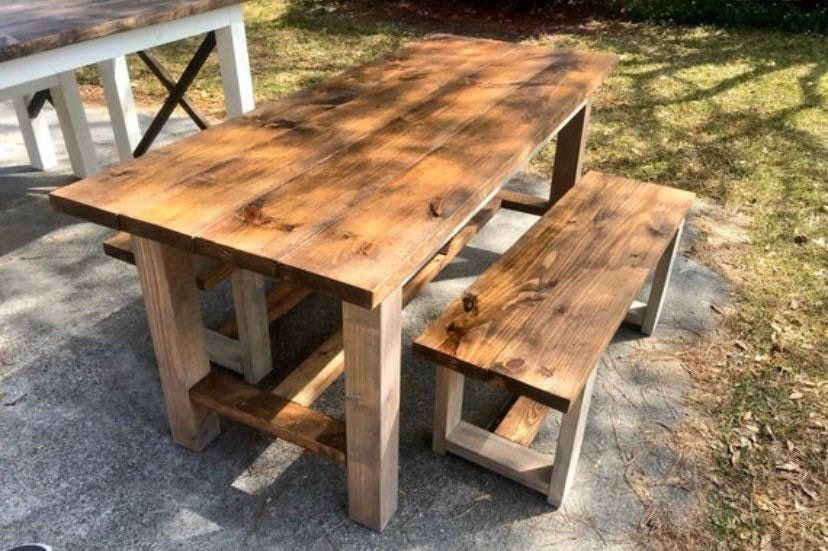 Narrow Rustic Farmhouse Table and Benches, With Provincial