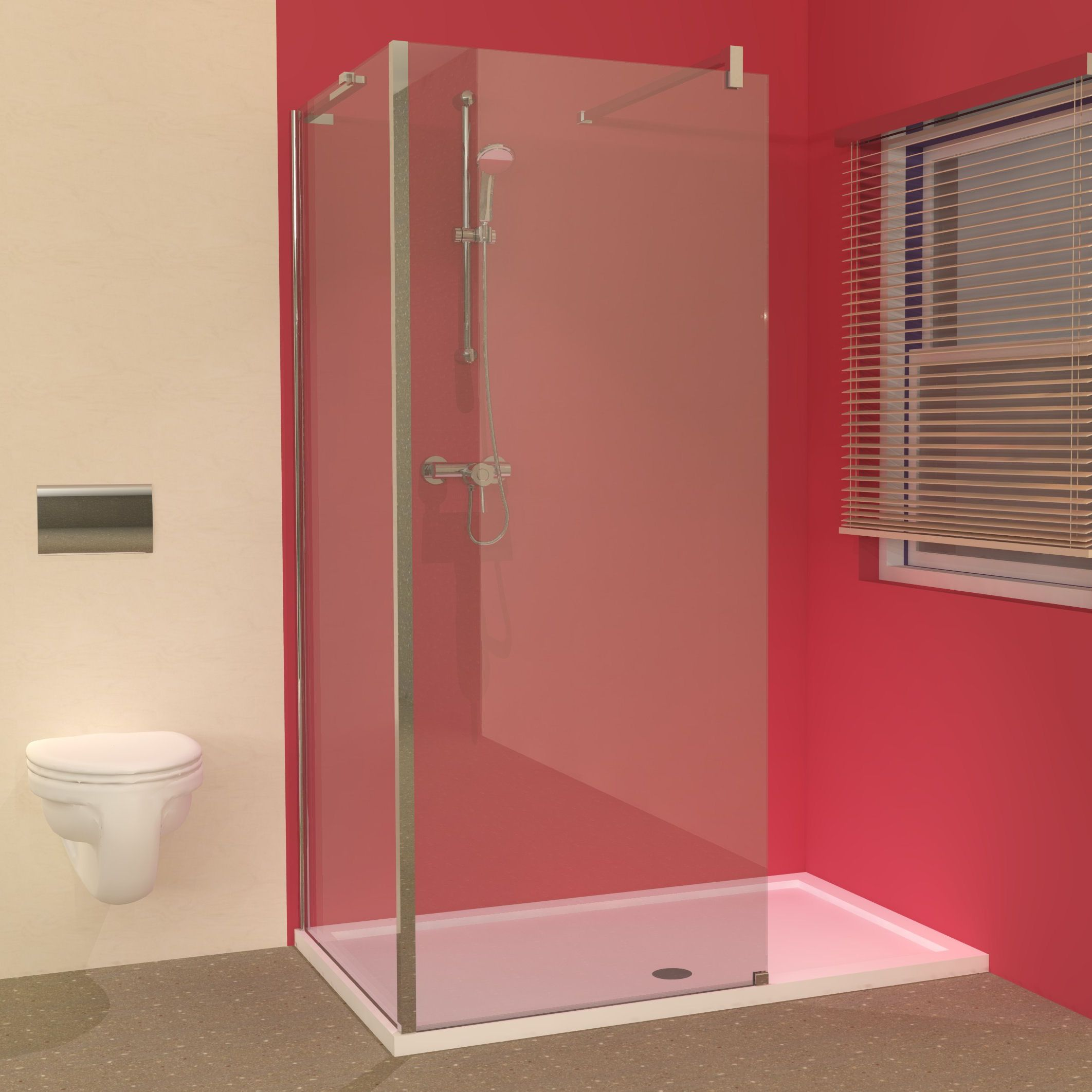Line 1400 x 900 tray with walk in shower panels enclosure for Small baths 1400