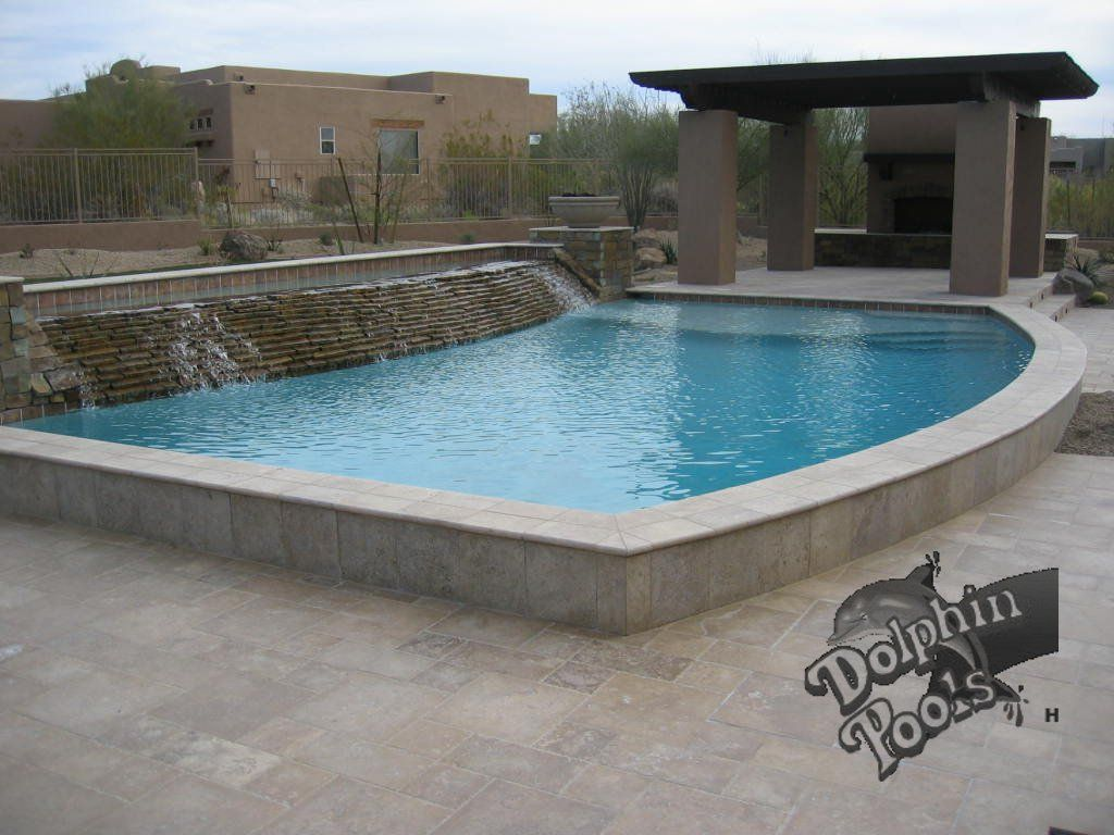Ledge around whole pool decking unsure about giant for Raised pool designs