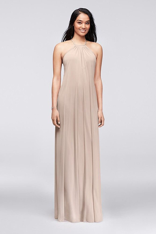 David\'s Bridal Soft Mesh Halter Bridesmaid Dress with Slim Sash ...