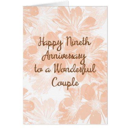 9th Wedding Anniversary Gift.9th Wedding Anniversary Card Peach Flowers Zazzle Com In