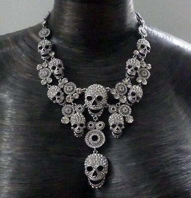 Butler and Wilson Clear Crystal 10 Skull Necklace NEW ...