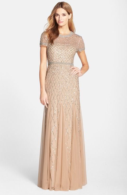 Main Image Adrianna Papell Beaded Mesh Gown Regular Petite