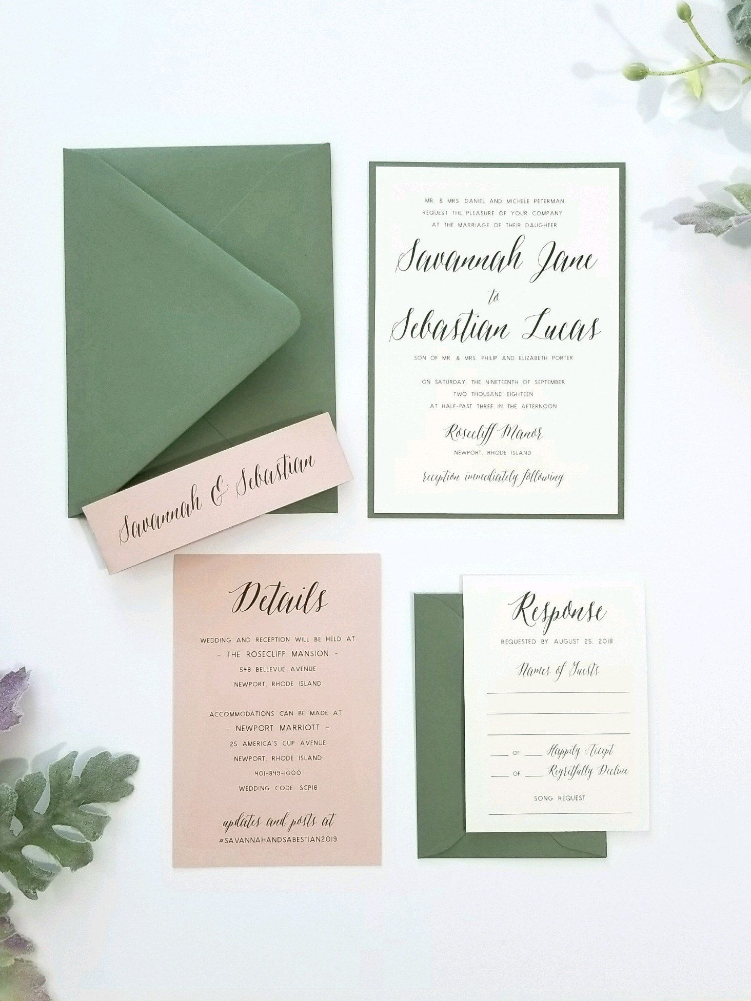 New Savannah Suite Featured In Blush And Green Place Card