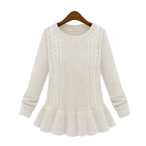 Image of [grxjy560525]European Style Retro Pure Color Peplum Knit Sweater