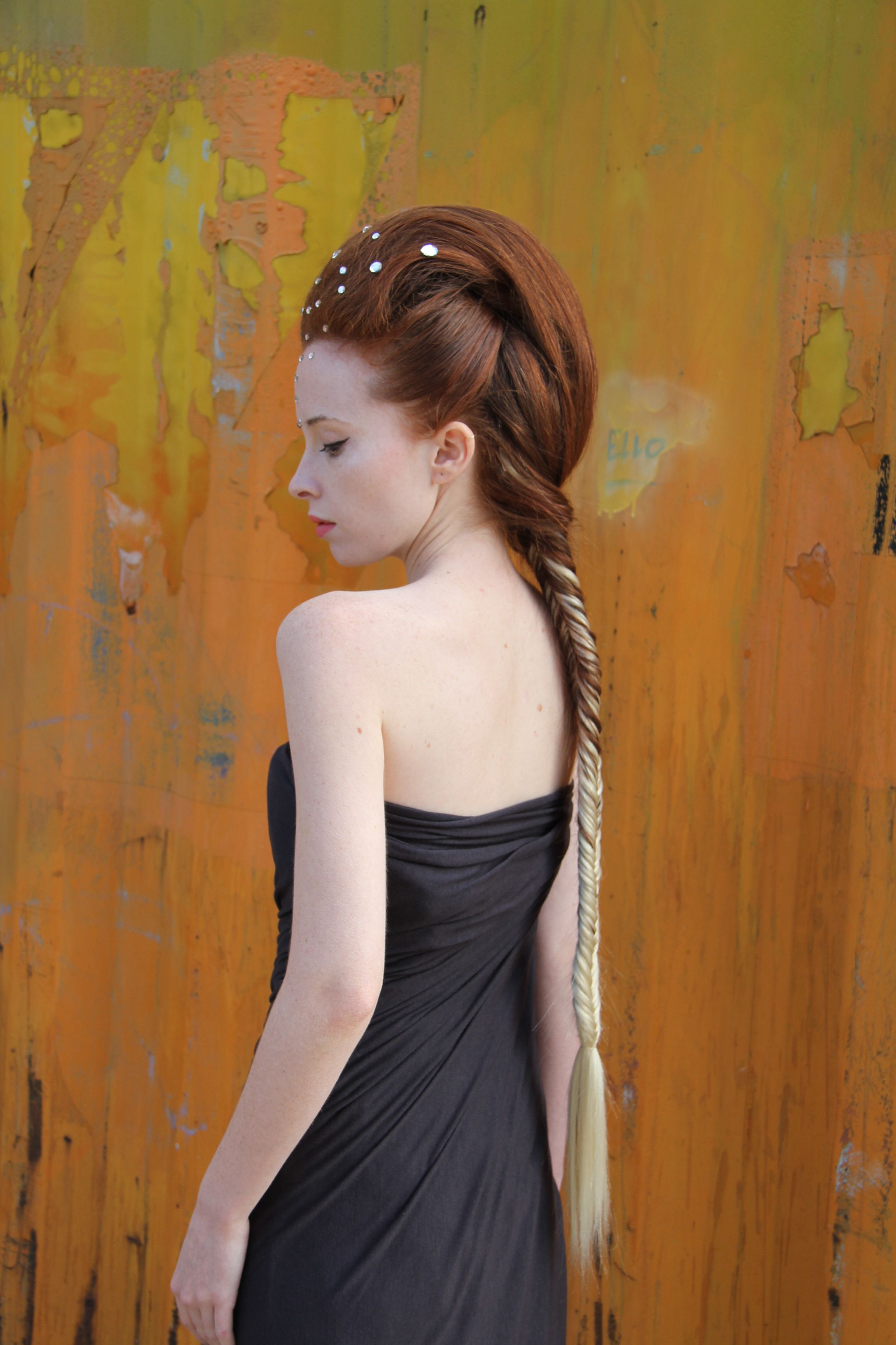 Long french braid, futuristic style, ginger blond, ombre