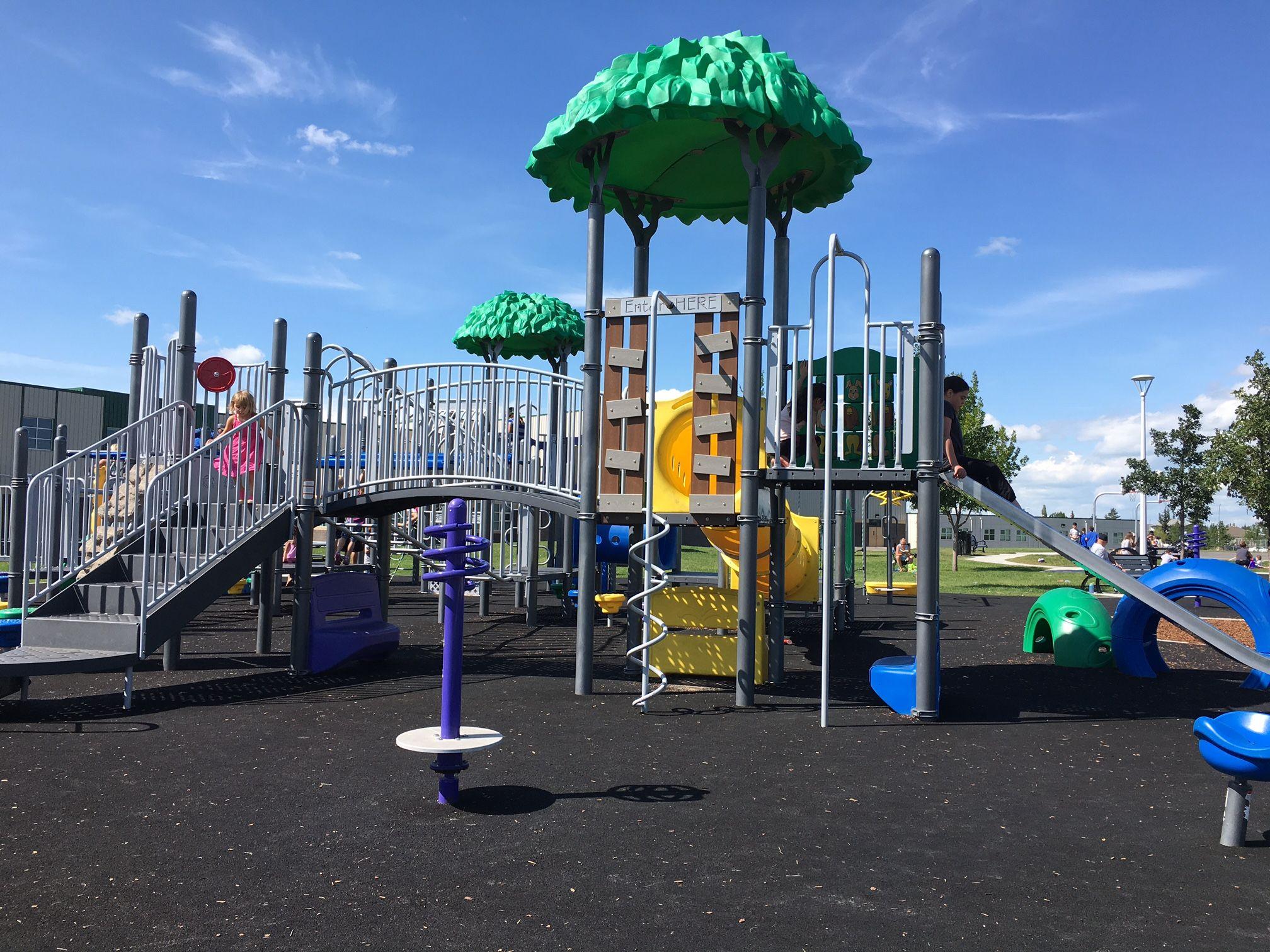 Florence Hallock School Zipline Playground Edmonton Play Structure