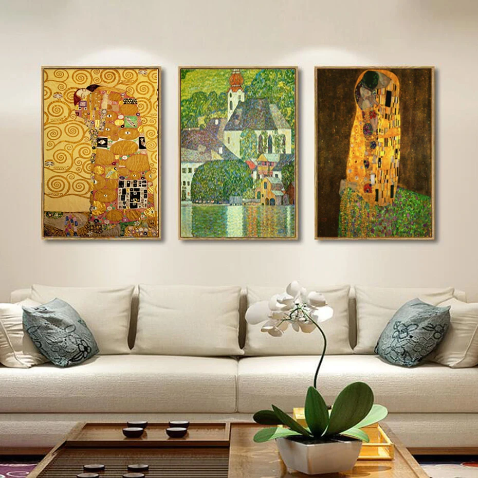 Famous Paintings Gustav Klimt The Kiss And The Embrace Fine Art Canvas Prints Art Painting Canvas Art Classic Art