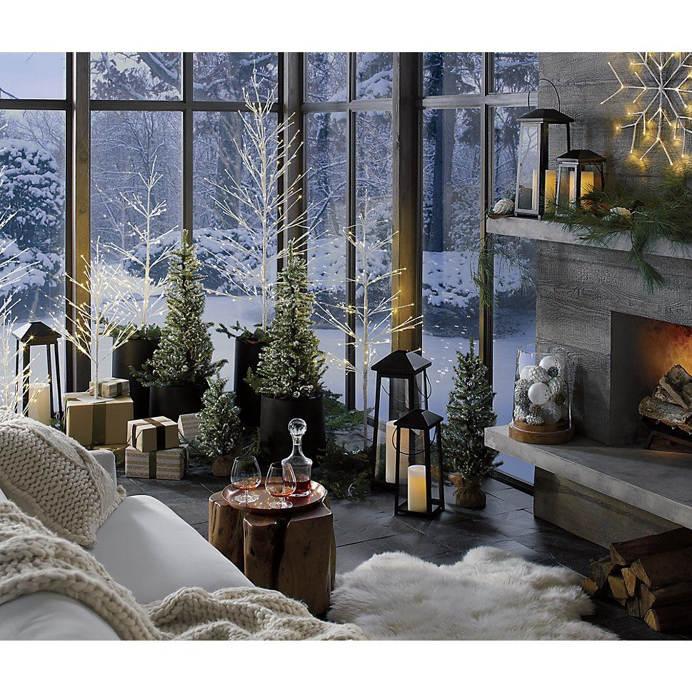Flocked Pine Trees | Crate and Barrel | Christmas ...