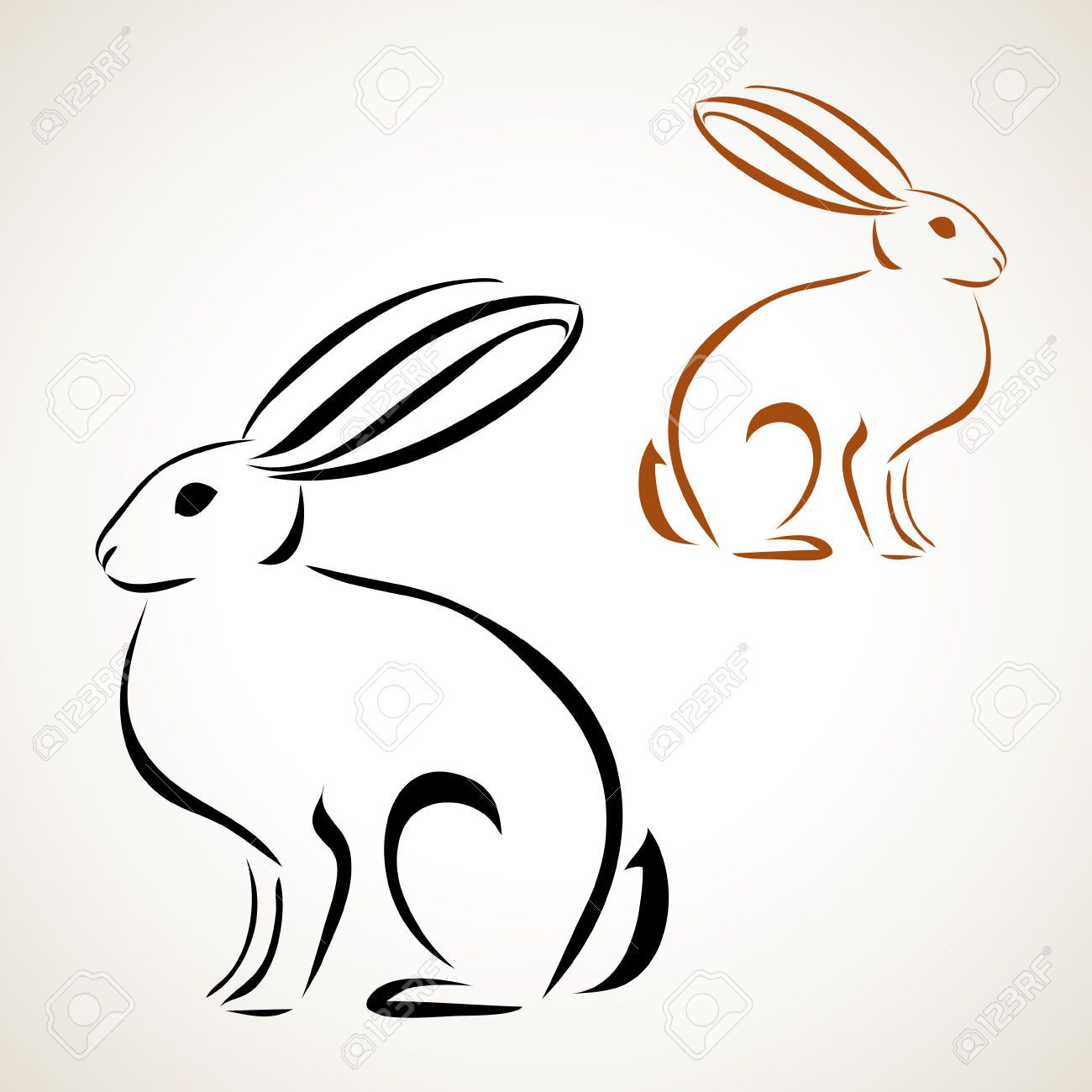easter card with rabbit outline royalty free cliparts vectors  [ 1300 x 1300 Pixel ]