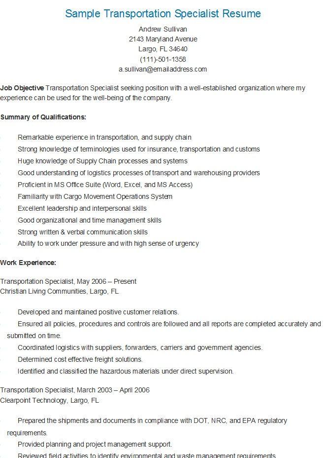 Sample Transportation Specialist Resume Sample Resume Resume Logistics Management