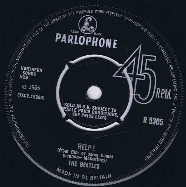 The Beatles Help Parlophone R 5305 First Press 7