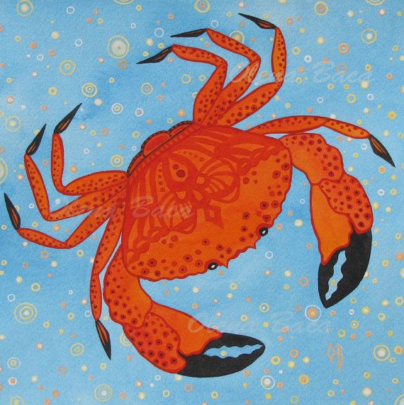 Crab.Nautical illustration. A watercolor painting.