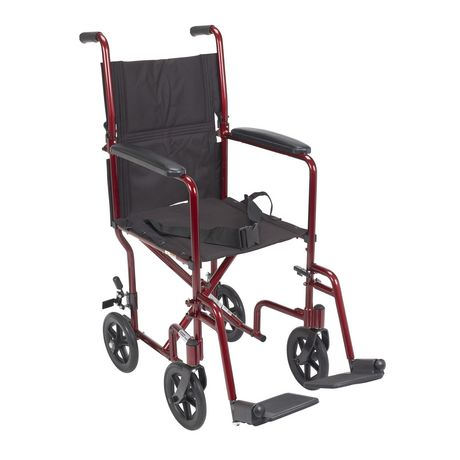 Drive Medical 17 Lightweight Transport Red Wheelchair Transport