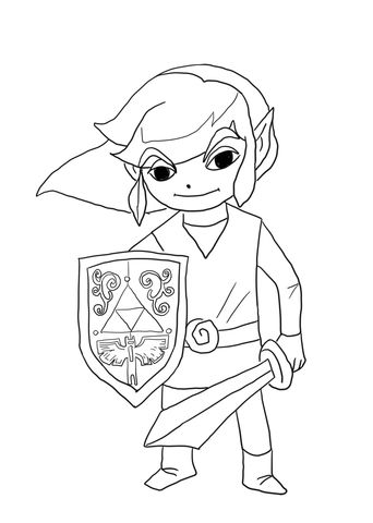 Toon Link From Legend Of Zelda Wind Waker Coloring Page Coloring Pages Free Printable Coloring Pages Free Coloring Pages