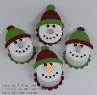 Punch Art Tealight Snowmen By Jillastamps   Cards And Paper Crafts At  Splitcoaststampers