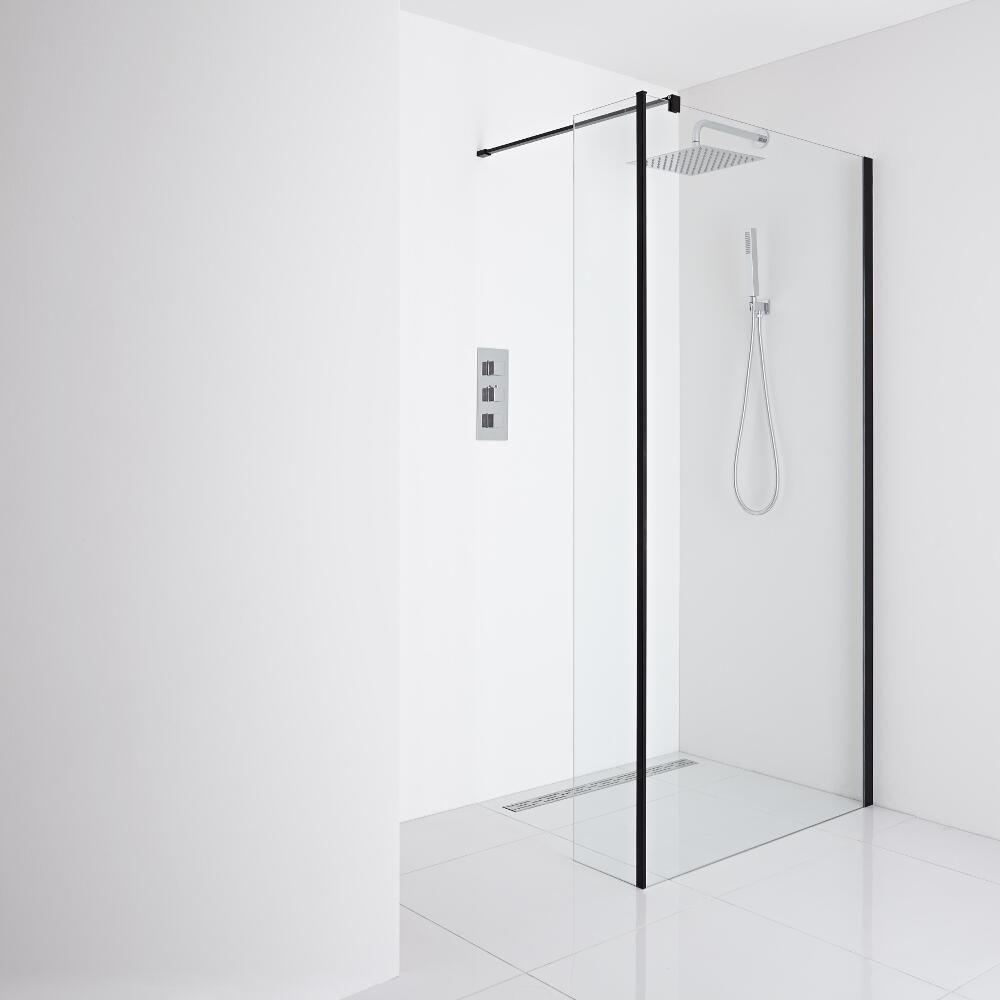 Milano Nero Recessed Wet Room Shower Enclosure 1000mm Glass Inc Drain Return Panel Wet Room Shower Shower Enclosure Wet Rooms