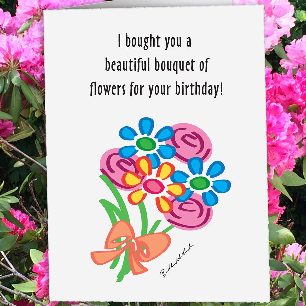 Flowers Eaten by Goat Birthday Birthday Card Goat Card Custom – Custom Happy Birthday Card