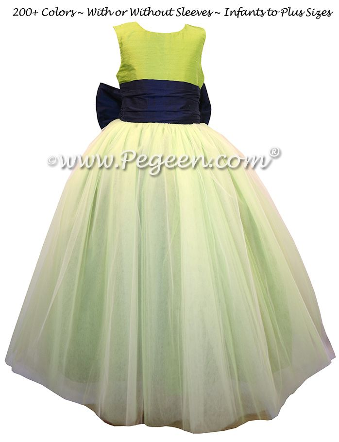 cab3b567fd8 Chartreuse Green and Navy Blue Silk and Tulle Flower Girl Dresses by Pegeen