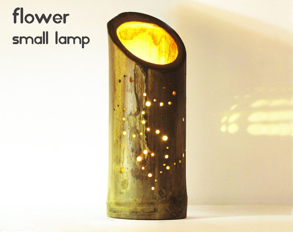 Bamboo bedside light with flower design and natural glow | Rustic ... for Bamboo Lamp Designs  lp4eri