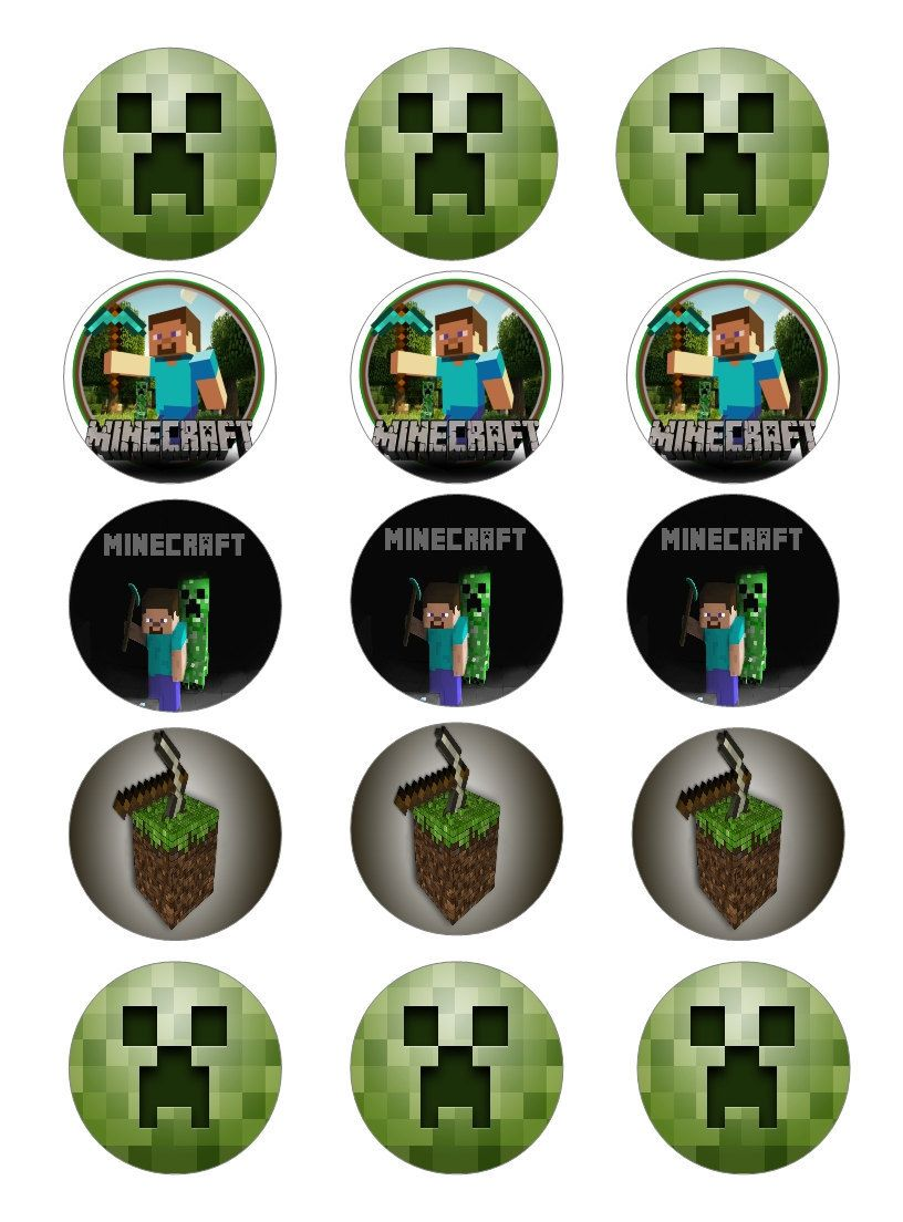 This is a graphic of Tactueux Printable Minecraft Cupcake Toppers